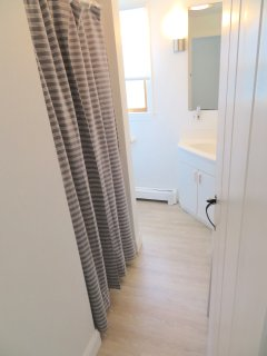 Main level full bath includes a stackable washer/dryer.  New floor extends into this room as well.