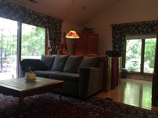 Huge sitting area with Queen sleeper sofa for extra guests