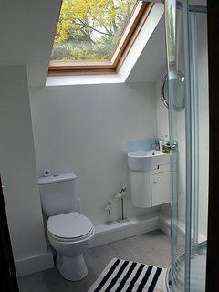 The bedroom has a smart en suite shower room
