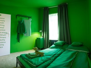 Unique green single color room in the centre, Brno