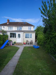 Good sized, private garden with lots of room for kids - slides & more.  Apple, cherry & fruit trees.