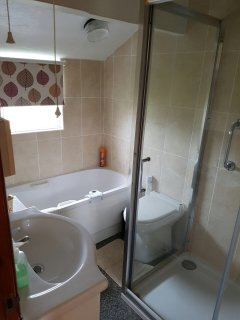Bathroom has bath and large shower