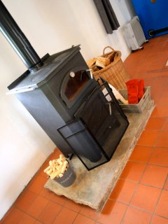Wood burning stove with pizza oven