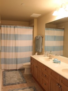 Third full bathroom with tub/shower combo and double vanity.
