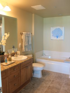5 piece master bath with soaking tub, double vanities and separate shower.  Large walk in closet.