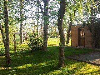 Cabane sous les arbres au coeur du Perche, piscine couverte, chauffée, terrasse