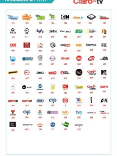 Satellite cable TV channels that are available.