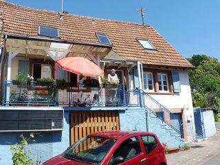 Pfalzhaus im Trifelsland mit Sonne im Wein, Silz