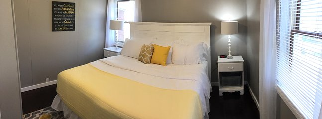 King bedroom (main level) has luxury pillowtop mattress, with TV, comfy and quiet