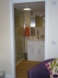 Contemporary bathroom with vanity unit sink and large walk in shower enclosure.