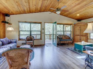 Bright, inviting cabin in quiet location with mountain views & large balcony