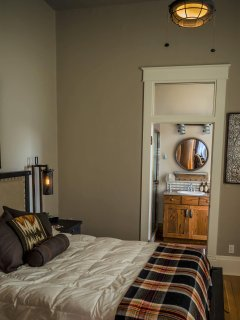 View from bedroom through to bathroom designed as tribute to Willis and our ranch heritage.