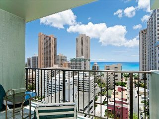 Amazing Ocean and City Views from this Comfortable Waikiki Condo Free Parking