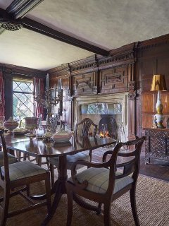 The 1620s panelling and Tudor fireplace in the 1590s Great Parlour.