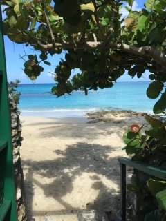 view though the garden gate to the beautiful beach edging the calm sea and manmade reef