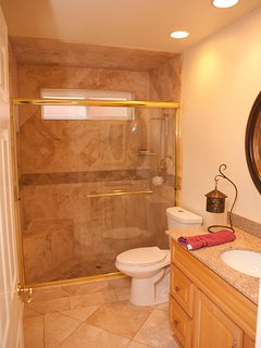 tumbled marble and granite downstairs Bathroom