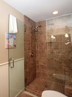 Large glass and ceramic tile shower has built in bench and both fixed and handheld shower heads.
