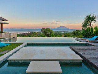 The View Over The Infinity Pool To Mt. Agung On Bali