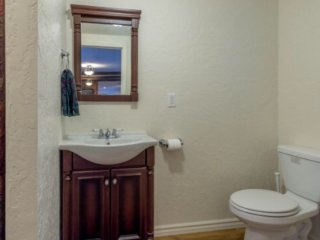 Spacious remodeled bath with stall shower.