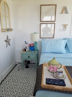 Charming luxurious bedroom right on the Bay at My Pan-O-Sea-A. Stunning views!