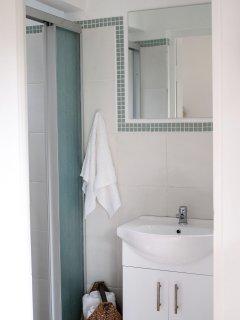 Shower and wash hand basin.