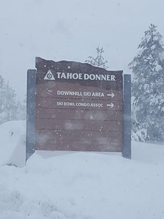 When driving up northwoods into Tahoe Donner, make a right at sign.  Home is down on the right