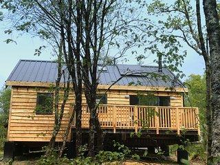 Flora is a beautiful Scandinavian style log cabin in pretty woodland setting, Dalavich