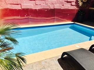private sunny pool with the following dimensions: 5.6m x 3.3m and depth from 1.3m to 1.8m