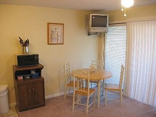 Kitchen/Living Area with TV with DVD player and microwave