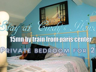 Private bedroom in Cindy's home - 15mn away from Paris