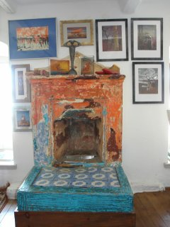 Blue room fireplace
