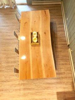 Live edge custom table that sits ten comfortably
