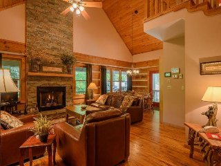 3BR Cabin, 90 Foot Waterfall, 2 Levels of Wraparound Decks, Hot Tub, 2 King