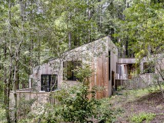 Custom, dog-friendly home w/ a private hot tub, woodsy location, shared pools