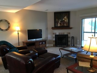 Large living room with a flat screen TV and views of the lake