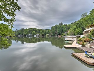 New! Lakefront 6BR Lake Lure Home w/Two-Level Deck