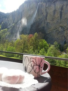 Morning Coffee on the balcony watching the wind blow the Staubach Falls. NO hotel has this view.