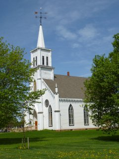 Malpeque church (Hwy 20 turn), across the street from the Malpeque Ceilidh.