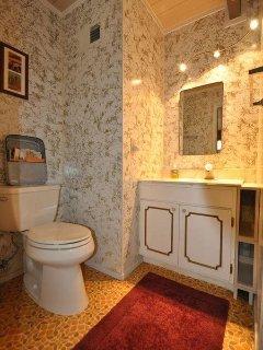 Guest bathroom, first floor. View 2. Bigfoot Cabin Unit 4 Lot 281 Pine Mountain Lake Vacation Rental Near Yosemite...