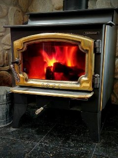 Sip your favorite beverage by our cozy Lopi woodstove. Firewood provided