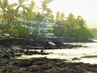 Old Hawaii Ambiance! Oceanfront Hidden Gem-So Close To The Surf- Banyan Tree 301, Kailua-Kona