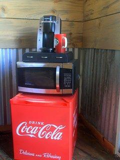 Fridge, Microwave and Coffee.