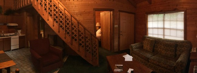 Panoramic of the bottom half of the log cabin