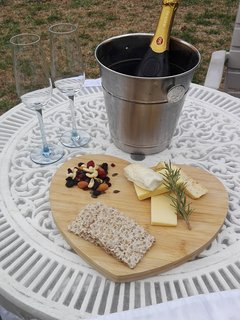 Cheese platters and Sparkling wine on request in garden for honeymoon couples at extra cost