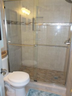 Newly tiled walkin shower