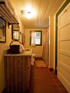Bathroom off the living room.