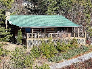 Private and secluded true log cabin, covered deck, fabulous panoramic views.