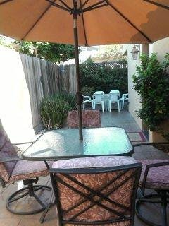 Long patio with seats for 13