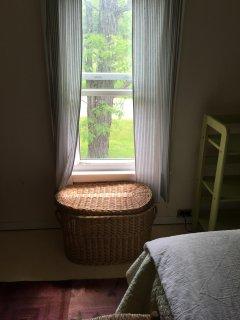 upstairs bedroom window looking out to the front