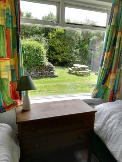Bedroom 4. Twin room with garden views and picnic area.